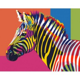 PAINT BY NUMBERS KIT RAINBOW ZEBRA T16130015