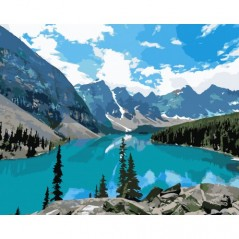 PAINT BY NUMBERS KIT MOUNTAIN LAKE 40X50 CM A018 Framed
