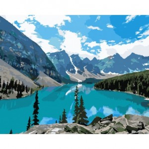 PAINT BY NUMBERS KIT MOUNTAIN LAKE 40X50 CM A018