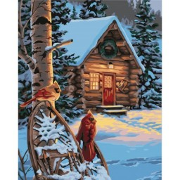 PAINT BY NUMBERS KIT FORESTER'S HUT 40X50 CM A046 Pre-order only