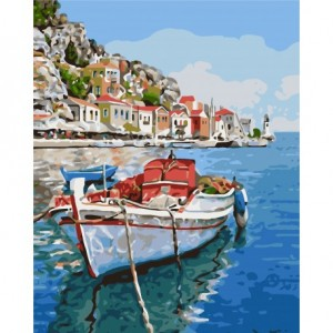 PAINT BY NUMBERS KIT BOAT 40X50 CM A051 Framed