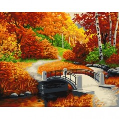 PAINT BY NUMBERS KIT GOLDEN AUTUMN 40X50 CM A089 Framed