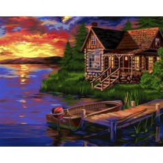 PAINT BY NUMBERS KIT EVENING HARBOUR 40X50 CM A090 Framed