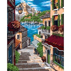 PAINT BY NUMBERS KIT EUROPEAN ALLEY 40X50 CM A093 Framed