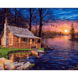 PAINT BY NUMBERS KIT FISHERMAN'S HUT 40X50 CM A096