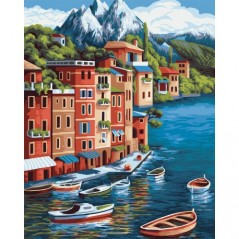 PAINT BY NUMBERS KIT MOUNTAIN TOWN 40X50 CM A100 Framed