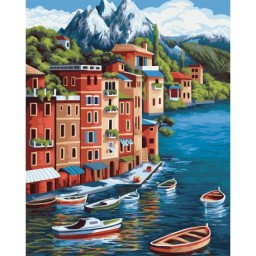 PAINT BY NUMBERS KIT MOUNTAIN TOWN 40X50 CM A100