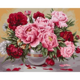 PAINT BY NUMBERS KIT GARDEN PEONIES 40X50 CM B057 Framed