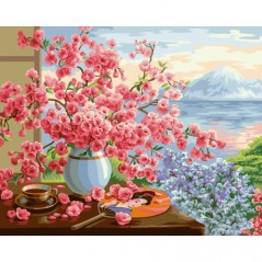 PAINT BY NUMBERS KIT SAKURA BOUQUET 40X50 CM B072 Framed