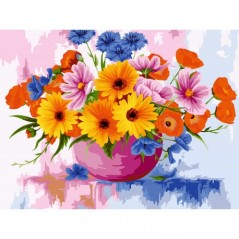 PAINT BY NUMBERS KIT FIELD FLOWERS 40X50 CM B104 Framed