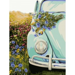 PAINT BY NUMBERS KIT RETRO BEETLE 40X50 CM E011  Framed