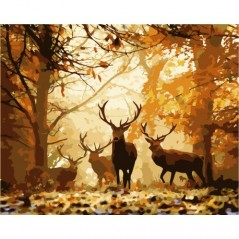 PAINT BY NUMBERS KIT FOREST DEER 40X50 CM H001 Framed