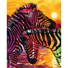PAINT BY NUMBERS KIT COLOURFUL ZEBRAS 40X50 CM H069 Framed