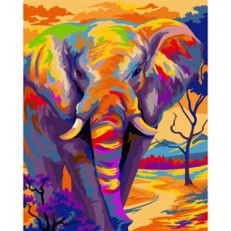 PAINTING BY NUMBERS KIT COLOURFUL ELEPHANT 40X50 CM H081