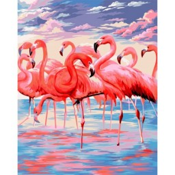 PAINT BY NUMBERS KIT PINK LAKE 40X50 CM H112