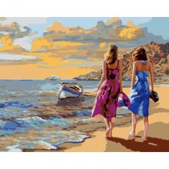 PAINT BY NUMBERS KIT BEACH WALK 40X50 CM J017 Framed