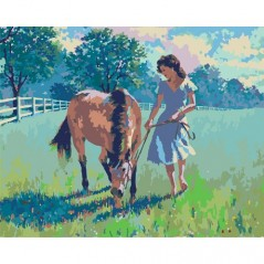 PAINT BY NUMBERS KIT WOMEN AND THE HORSE ARTHUR SARNOFF 40 x 50 cm. Framed
