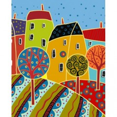 PAINT BY NUMBERS KIT VILLAGE ANDRE GERAR 50X40 CM T50400027 Framed