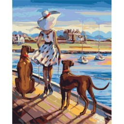 PAINT BY NUMBERS KIT WALKING THE COAST TRISH BIDDLE T50400115