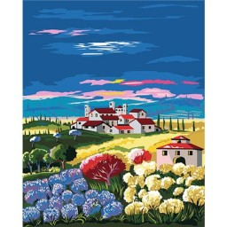 PAINT BY NUMBERS KIT FIELD WITH HORTENSIAS 50X40 CM T50400201