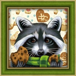 DIAMOND PAINTING KIT RACOON WITH COOKIES AZ-1606 Pre-order only