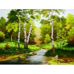 DIAMOND PAINTING KIT RIVER AMONG THE TREES AZ-1343