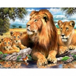 DIAMOND PAINTING KIT LIONS AZ-1399 Pre-order only
