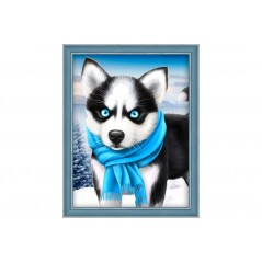 DIAMOND PAINTING KIT BLUE EYE HUSKY AZ-1540