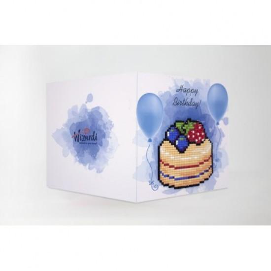 DIAMOND PAINTING CARD HAPPY BIRTHDAY (CAKE) WC0394
