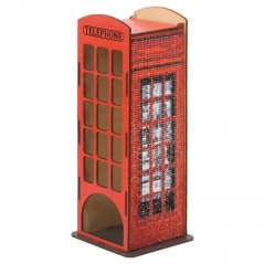 DIAMOND PAINTING PLYWOOD KIT TELEPHONE BOOTH TEA HOUSE WW004