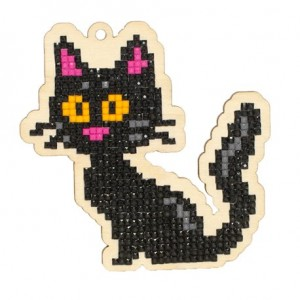 DIAMOND PAINTING PLYWOOD KIT CHARM BLACK CAT WWP193