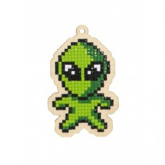 DIAMOND PAINTING PLYWOOD KIT CHARM GREEN ALIEN WWP273