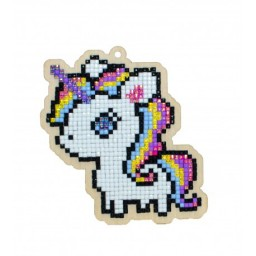 DIAMOND PAINTING PLYWOOD KIT CHARM MAGICAL UNICORN WWP305