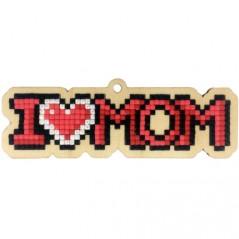 DIAMOND PAINTING PLYWOOD KIT CHARM I LOVE MOM WWP319
