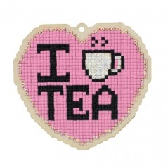 DIAMOND PAINTING PLYWOOD KIT CHARM I LOVE TEA WWP378
