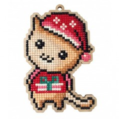 DIAMOND PAINTING PLYWOOD KIT CHARM KITTEN WITH CHRISTMAS HAT WWP448