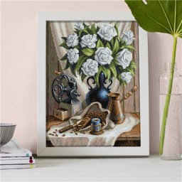 DIAMOND PAINTING KIT WHITE ROSES AND COFFEE AZ-1657 Pre-order only