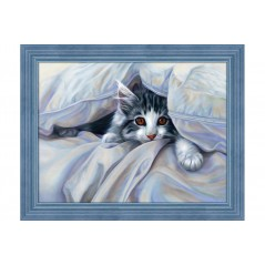DIAMOND PAINTING KIT CAT UNDER THE BLANKET AZ-1680