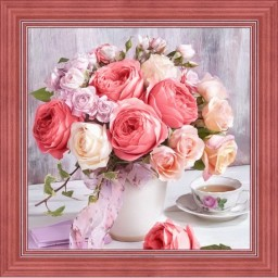 DIAMOND PAINTING KIT PEONIES AND ROSES AZ-1696 Pre-order only