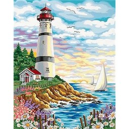 DIAMOND PAINTING KIT LIGHTHOUSE AT SUNRISE WD095