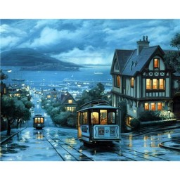 DIAMOND PAINTING KIT NIGHT TRAM WD104