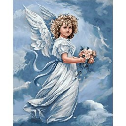 DIAMOND PAINTING KIT ANGEL WITH FLOWERS WD167 Pre-order only