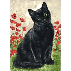 DIAMOND PAINTING KIT BLACK KITTY WD208