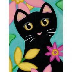 DIAMOND PAINTING KIT KITTY AND FLOWERS WD2359