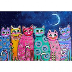 DIAMOND PAINTING KIT COLOURFUL CATS WD2390