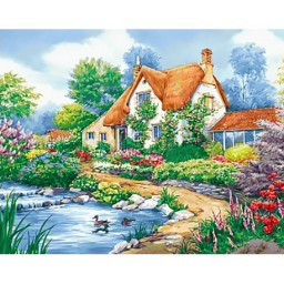 DIAMOND PAINTING KIT DUCK POND COTTAGE WD2404