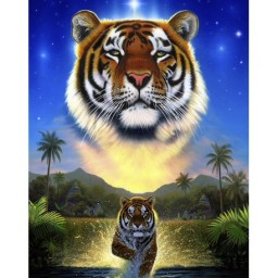 DIAMOND PAINTING KIT TIGER OF THE LAKE WD2411