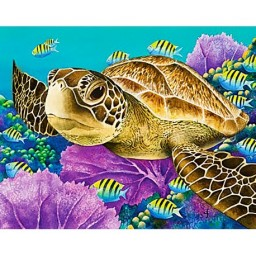 DIAMOND PAINTING KIT YOUNG GREEN SEA TURTLE WD2428