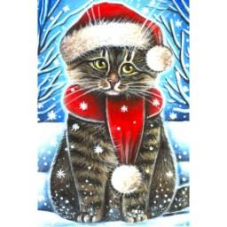 DIAMOND PAINTING KIT CHRISTMAS CAT WD2436