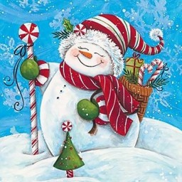 DIAMOND PAINTING KIT SNOWMAN WITH GIFTS WD2444 Pre-order